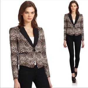 BCBG Bowie Feather Print Tuxedo Jacket Size Large